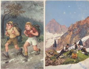 Swiss Camping Jogging Campers 2x Old Postcard s