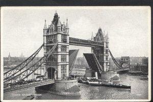 London Postcard - Tower Bridge Raised With Steamer Passing Through RS4245