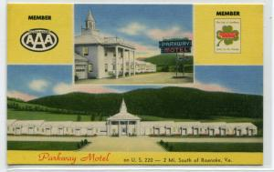 Parkway Motel US 220 Roanoke Virginia linen postcard