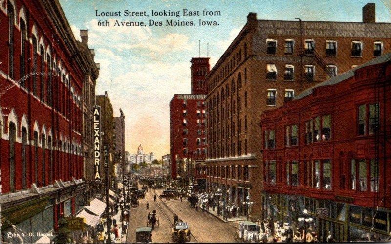 Iowa Des Moines Locust Street Looking East From 6th Avenue 1917 Curteich