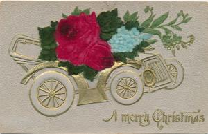 Merry Christmas Greetings - Auto and Flowers - Embossed Layered High Relief - DB