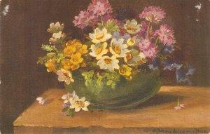 Beautiful fñowers in flower pot Nice vintage Swiss `postcard. Signed