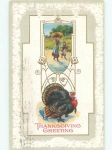 Divided-Back THANKSGIVING SCENE Great Postcard AA0686