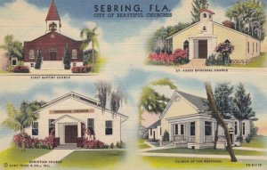 SEBRING, FL, 1930-40s; City of Beautiful Churches, 1st Baptist, St. Agnes Epi...