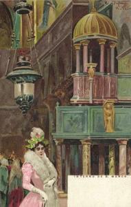 italy, VENICE VENEZIA, Interno de San Marco (1899) Artist Signed Raffaele Tafuri