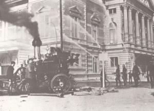 Victorian Fire Engine in Amsterdam Dutch Fireman in 1894 Postcard