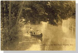 Early Eugene, Oregon/OR Postcard, Canoeing On The Mill Race