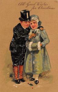Christmas~Elegant Victorian Boy~Top Hat~Knee High Spats~Girl in Green~Langsdorf