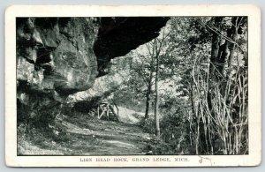 Grand Ledge Michigan~Steps Up To Lion Head Rock Formation~c1908 Postcard