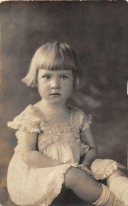 F71/ Interesting Real Photo RPPC Postcard c1920s Beautiful Child Girl Dress 15