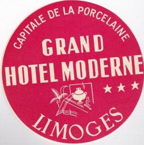 France Limoges Grand Hotel Moderne Vintage Luggage Label sk1071