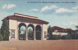 Illinois Chicago Zoological Park At Brookfield Entrance Curteich
