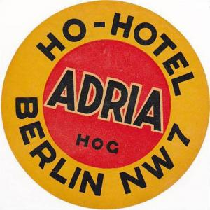 GERMANY BERLIN HOTEL ADRIA VINTAGE LUGGAGE LABEL