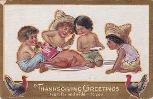 Thanksgiving Children From Around The World Carving Turkey 1910