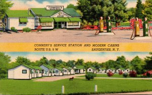 New York Saugerties Connery's Service Station and Modern Cabins 1948