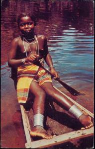 suriname, Native Bushnegro Girl in Festive Native Dress, Canoe (1950s)