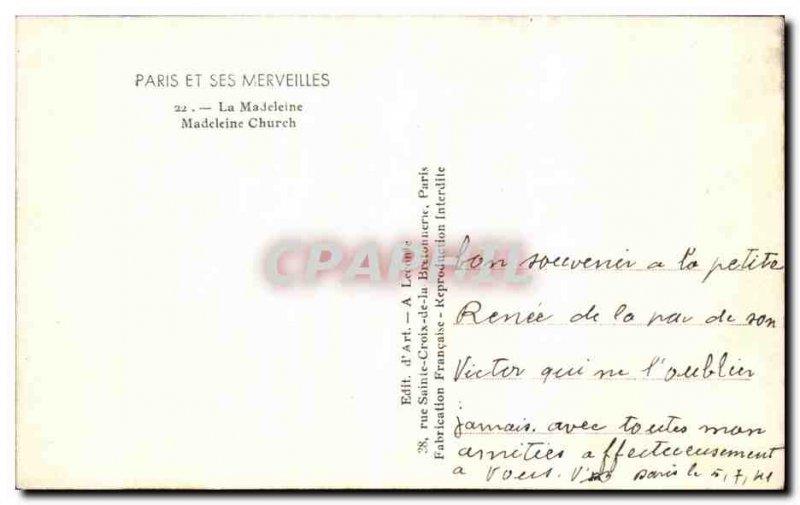 Old Postcard Paris And Its Wonders La Madeleine