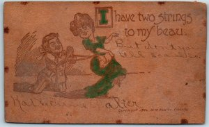 Vintage LEATHER Greetings Postcard I Have Two Strings to My Beau M.M. Fowler