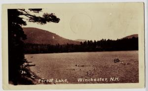 1946 WINCHESTER New Hampshire NH Real Photo RPPC Postcard Forest Lake Swimmers
