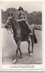 Her Majesty Queen Elizabeth II, Returning From Trooping The Colour PPC, Unposted