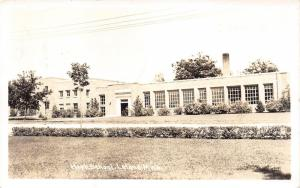 Leland Michigan~High School Building~Chimney on Roof~Leelanau County~1940 RPPC