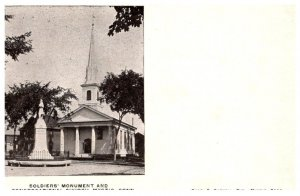 Connecticut Mystic ,Soldier's Monument and Church  , private mailing card