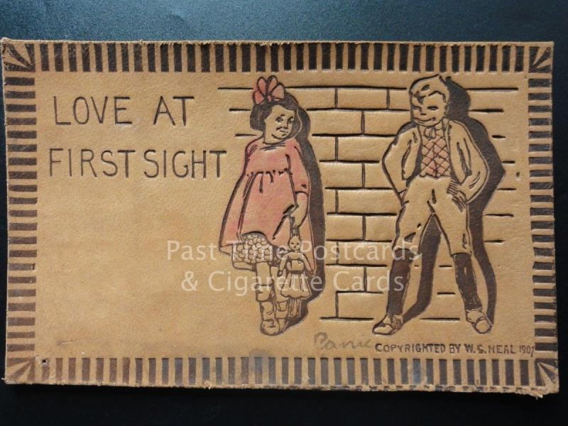 American Leather Postcard: LOVE AT FIRST SIGHT.. by W.S.Neal c1907