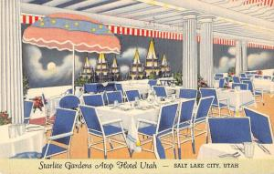 Salt Lake City Utah Hotel Utah Starlite Gardens Antique Postcard J53213