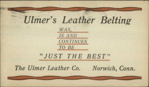 Norwich CT Ulmer Leather Co 1913 Advertising Postal Card