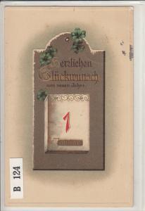 Embossed New Year 1916 greetings postcard 1st of January luck shamrocks