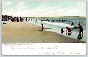 Block Island Rhode Island~Bathing Beach~Lots of People In & Out of Water~1906