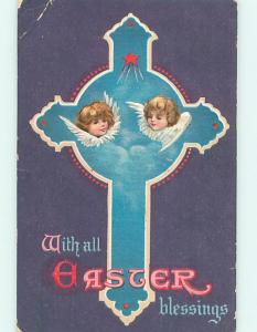 Divided-Back easter CHERUB FACES ON JESUS CROSS r3062
