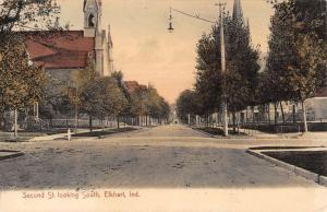 Elkhart Indiana Second Street Scene Antique Postcard K82921