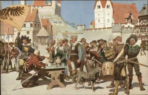 Russian Issued Medieval Village Scene Dog Flag Music Knight Drinking Postcard