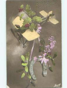 tinted rppc c1910 AIRPLANE WITH FLOWERS AC8996