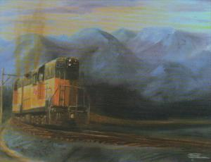 Milwaukee Road Locomotives With Heavy Freight In Montana Painting By Christop...