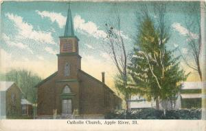 Apple River Illinois~Partly Cloudy over Catholic Church, Pine Tree~1910 Postcard
