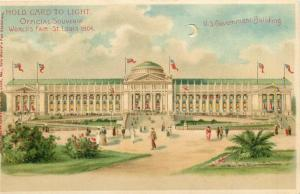1904 St. Louis MO Worlds Fair Hold-to-Light Postcard US Government Building nice