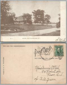 HOTEL BUTTONWOODS R.I. Narragansett Bay ANTIQUE POSTCARD w/ CORK CANCEL
