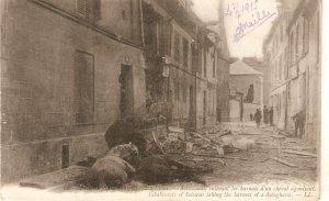 Dead horses in World War I  Old vintage French postcard