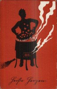 Valentine Krampus Devil Puts Hearts into Fire Postcard G19