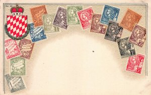Monaco Stamps on Early Embossed Postcard, Unused, Published by Ottmar Zieher