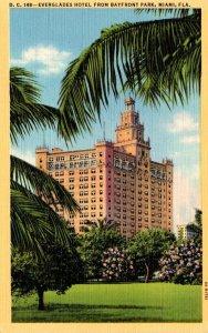 Florida Miami Everglades Hotel From Bayfront Park Curteich