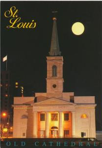 Majestic Old Cathedral under Full Moon - St Louis MO, Missouri