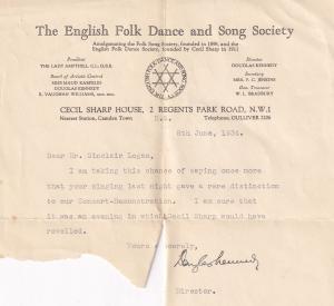 Douglas Kennedy English Folk Morris Dance Society Founder Antique Hand Signed...