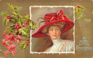 F Earl Christy Christmas~Lovely Lady in Red Merry Widow hat~Victorian Gown~Gold