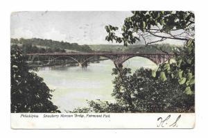 Strawberry Mansion Fairmount Park Philadelphia PA Trolley Bridge 1907 Postcard