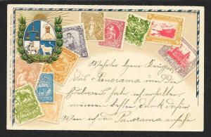 URUGUAY Stamps on Postcard Embossed Shield Used c1905