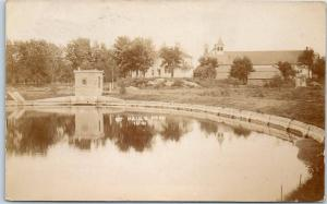 West Bend, Iowa RPPC Real Photo Postcard ST. PAUL'S PARK View 1910 Cancel