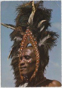 Kikuyu dancer, ostrich feather, head gear, Kenya, 1974 used Postcard